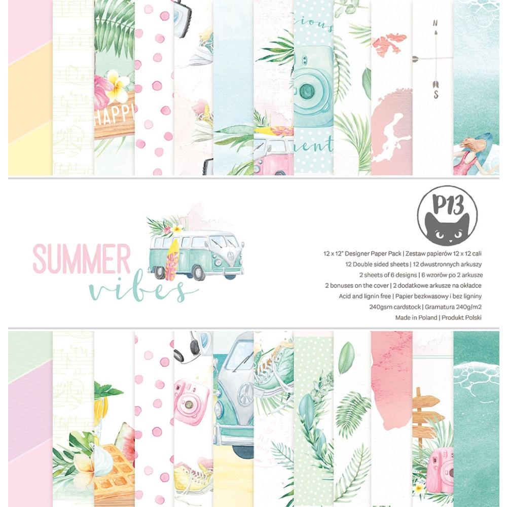 """P13 -Summer Vibes - Double-Sided Paper Pad 12""""X12"""" 12/Pkg"""