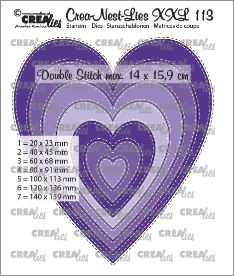 Crealies - Slim hearts with double stitch - no. 113,