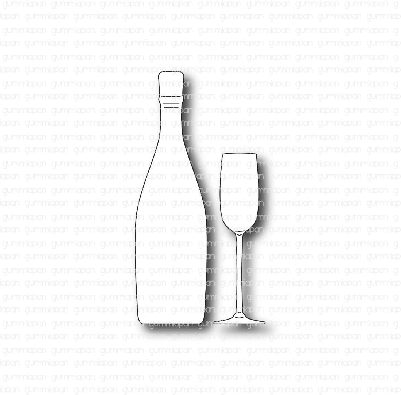 Gummiapan - Champagneflaska med glas -Dies