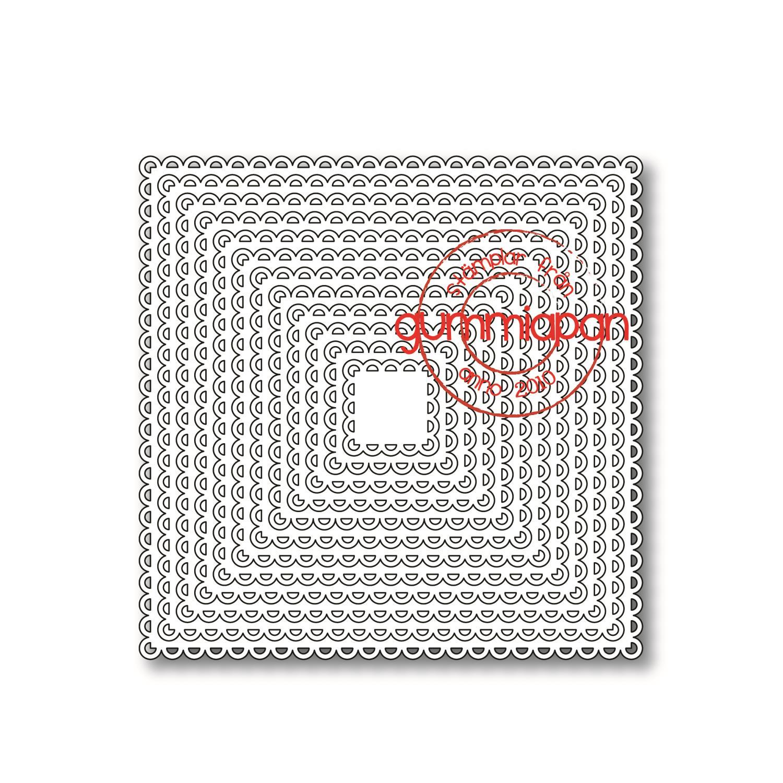 Gummiapan - Open Scalloped Squares Dies