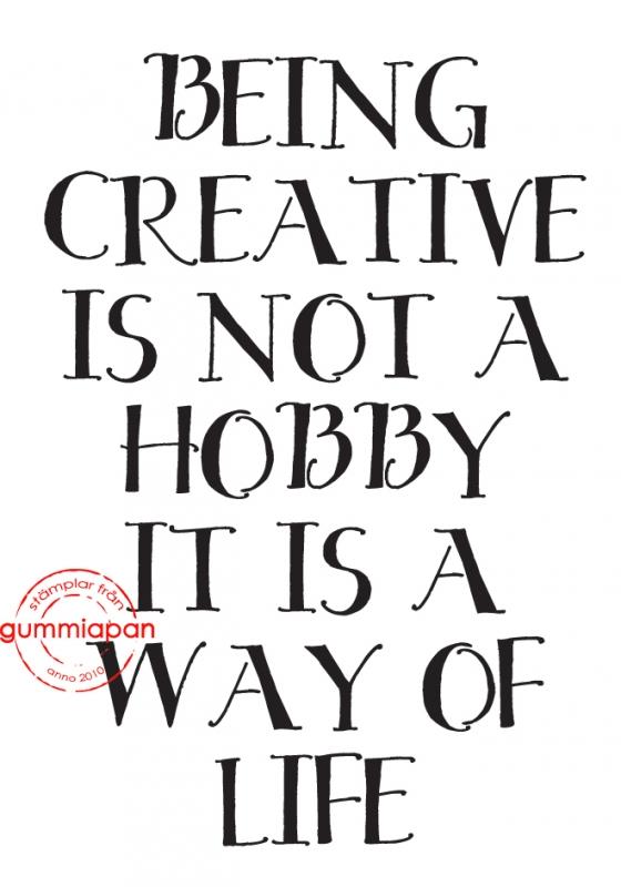 Gummiapan - Being creative is......- umontert stempel