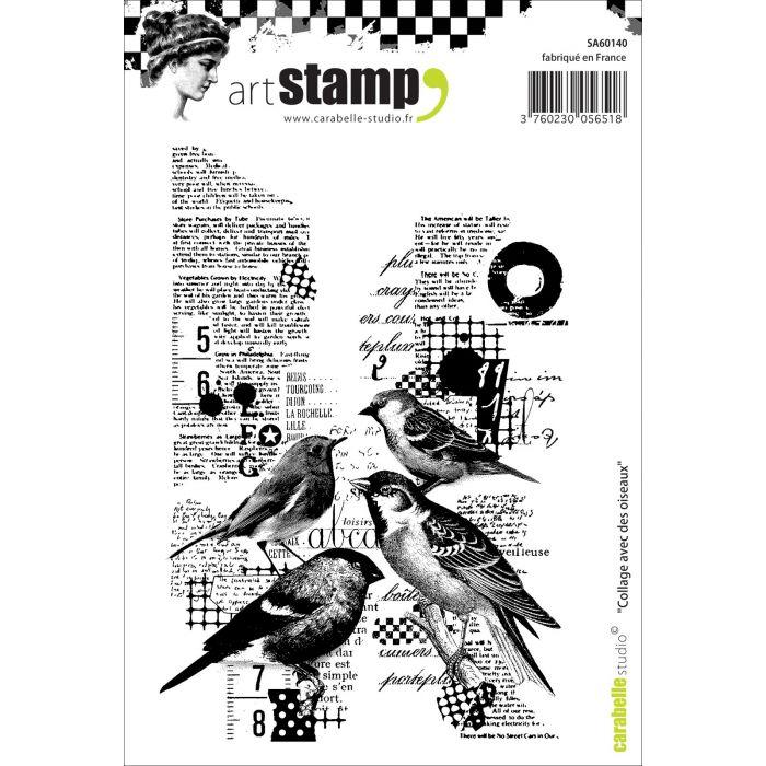 Carabelle Studio • Cling Stamp A6 Collage Avec Des Oiseaux