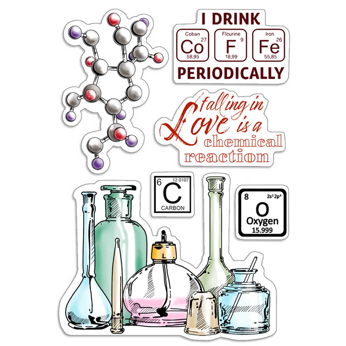 """Ciao Bella -  Chemical Reaction - CLEAR STAMP SET 4""""X6""""  -"""