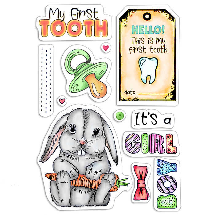 """Ciao Bella - My first Tooth- CLEAR STAMP SET 4""""X6"""" -"""
