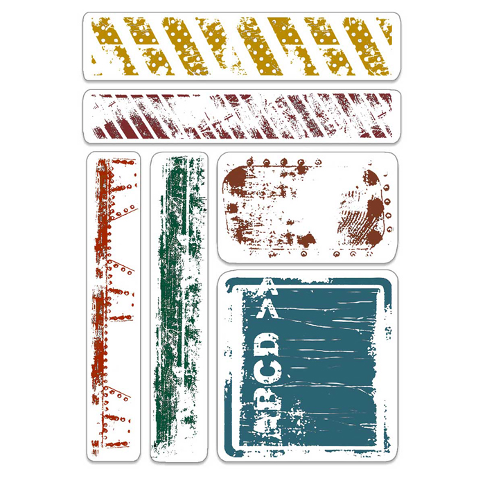 """Ciao Bella - Urban Tags & Borders- CLEAR STAMP SET 4""""X6"""" -"""