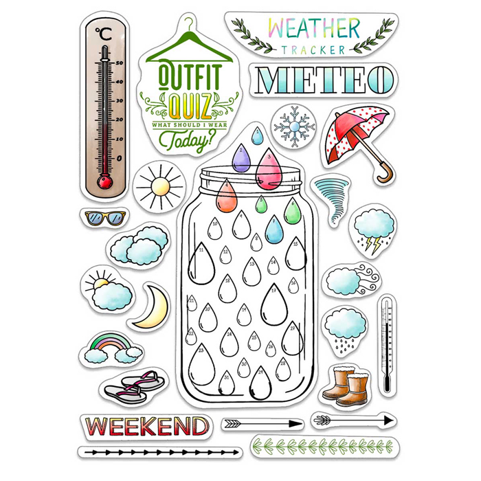 Ciao Bella - BuJo Weather- CLEAR STAMP