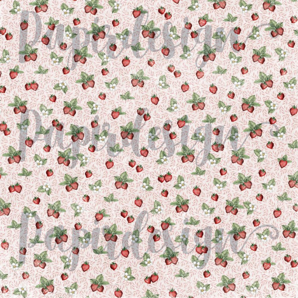 Papirdesign - 12 X 12 -  Vårtegn - Jordbærklem
