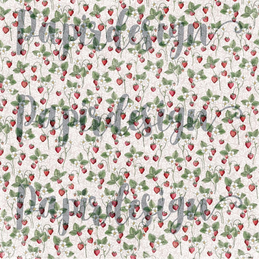 Papirdesign - 12 X 12 -  Vårtegn - Jordbær