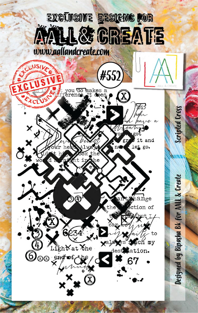 AAll&Create - A7 STAMP - Scripted Cross - #552