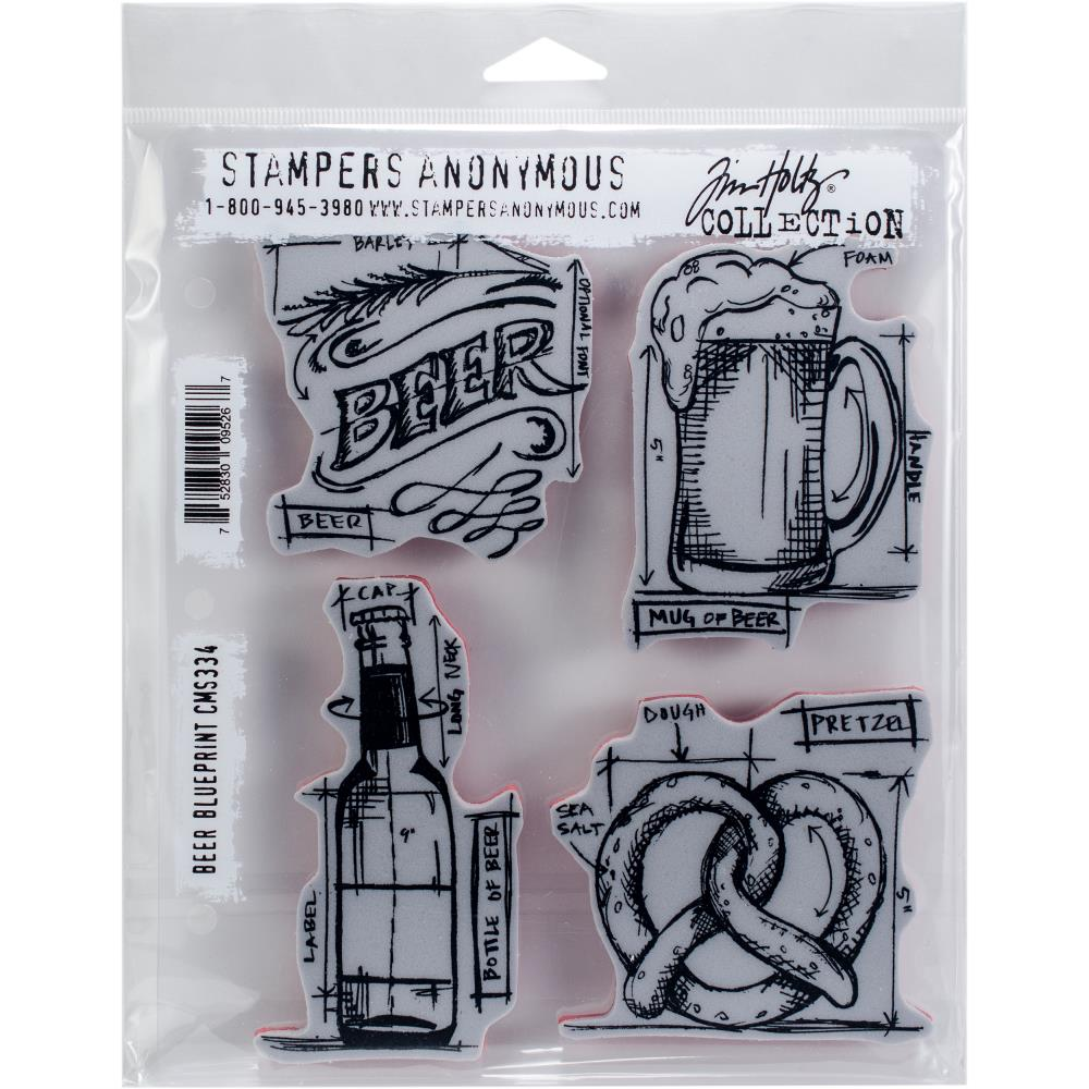 "Tim Holtz - Beer Blueprint-  CMS 334 - Cling Stamps 7""X8.5"""