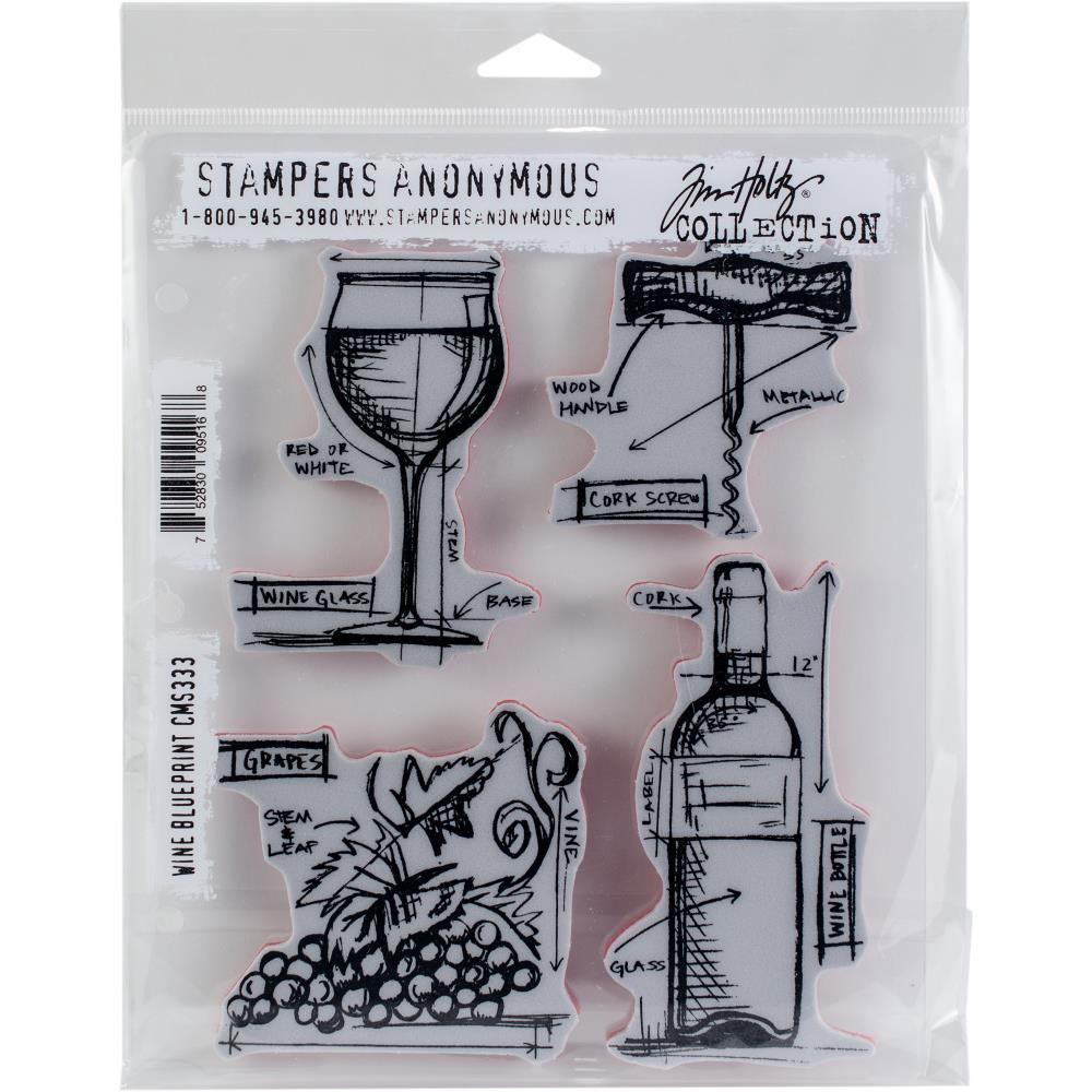 "Tim Holtz - Wine Blueprint -  CMS 333 - Cling Stamps 7""X8.5"""