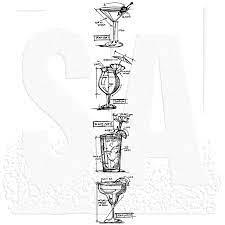 """Tim Holtz Mini Blueprints Strip - Cocktails - Cling Stamps 3""""X10"""