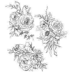 """Tim Holtz - Floral Outlines Cling Stamps 7""""X8.5"""" CMS 430"""