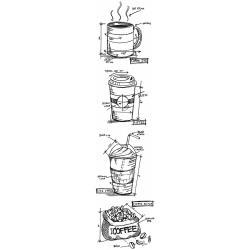"Tim Holtz Mini Blueprints Strip - Fresh Brewed - Cling Stamps 3""X10"