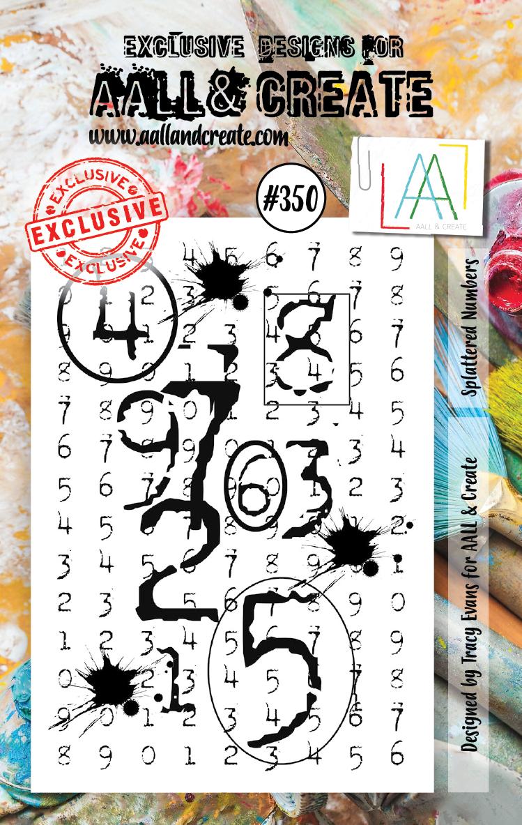 AAll&Create - Splattered Numbers - #350-  STAMP -
