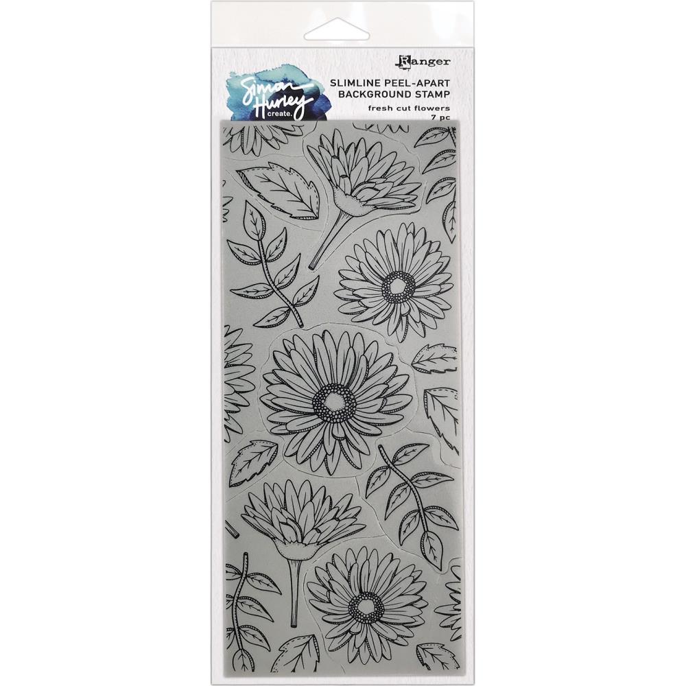 Simon Hurley create. Cling Slimline Stamps - Fresh Cut Flowers