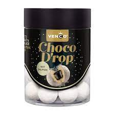 Venco Choco Drop Hvit sjokolade/Salmiak 146g