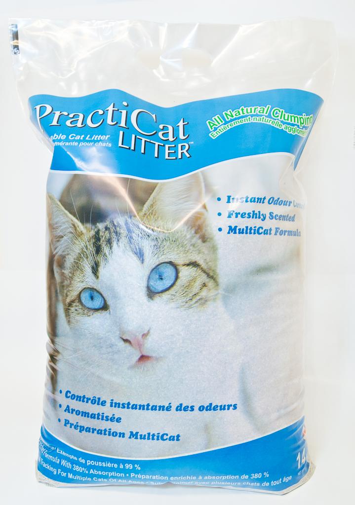 PractiCat kattegrus 14 kg Grov 1-3 mm. med pudder m/duft.