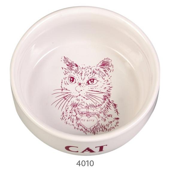 Katteskål 4010 Porselen M/Motiv Enkel 300 ml.