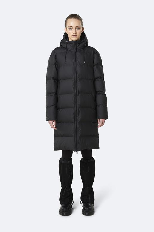 LONG PUFFER JACKET BLACK - RAINS