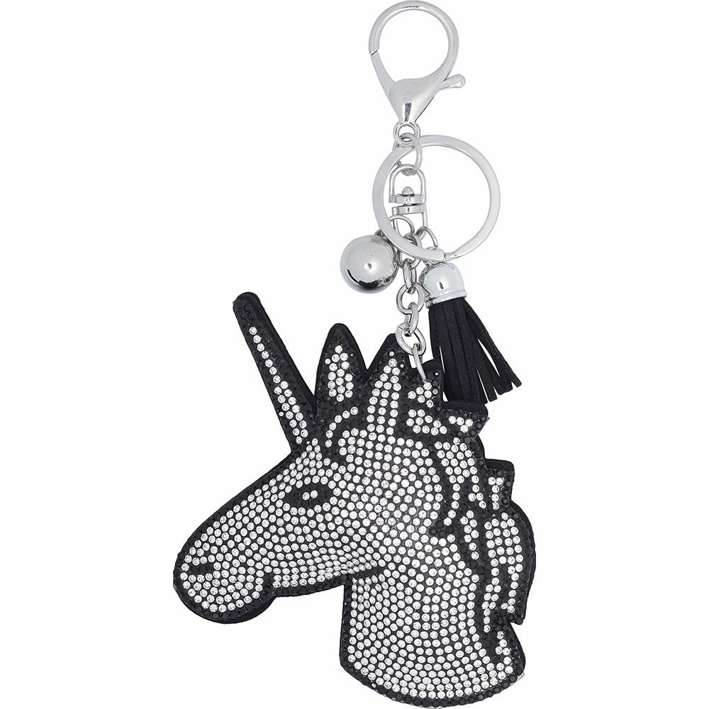 Equipage Unicorn nøglering, sølv/sort