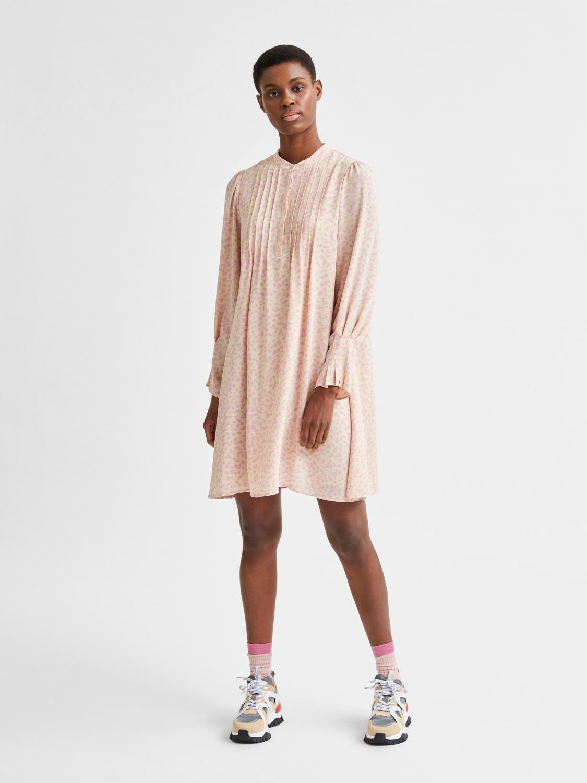 SLFLIVIA LS AOP SHORT DRESS Sandshell