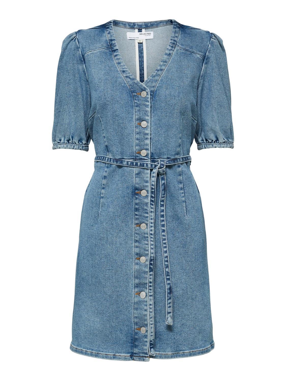 SLFSOPHIA MID BLUE  3/4 SL DNM DRESS U