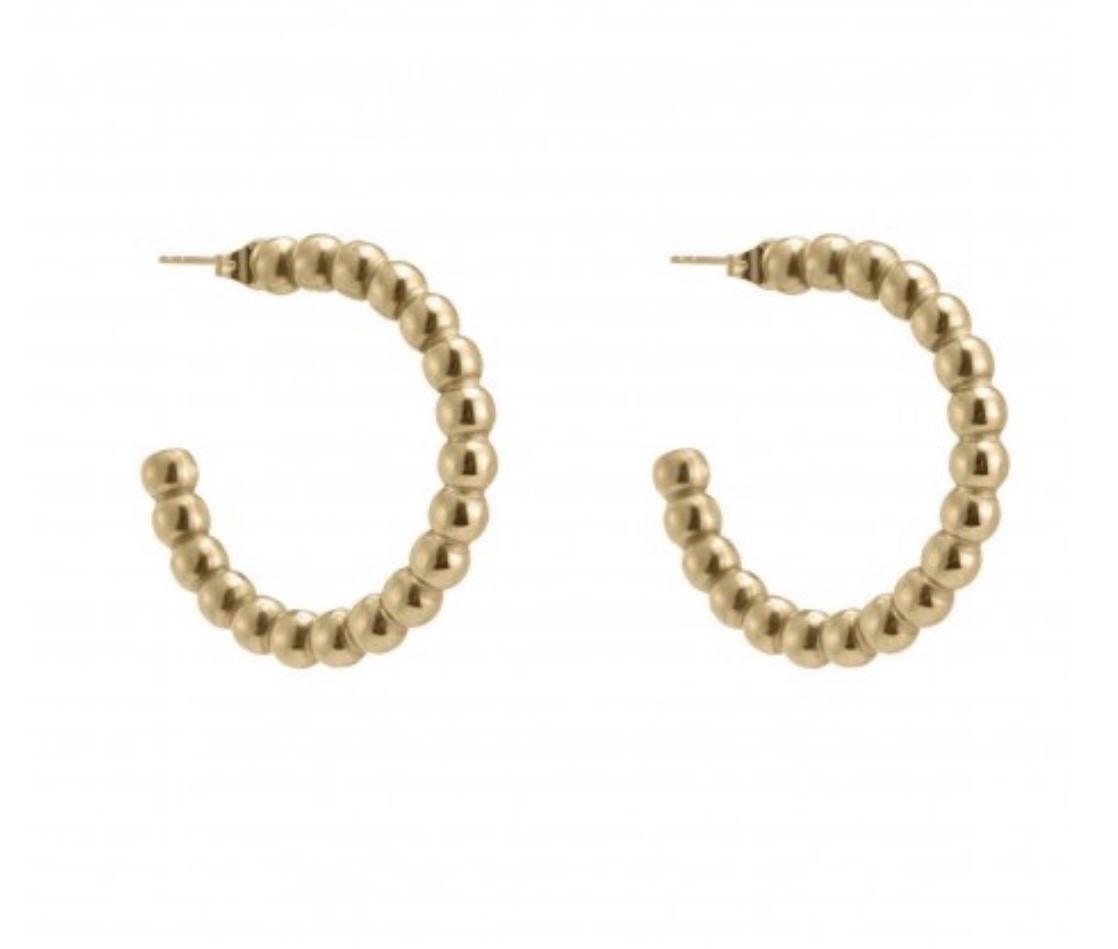 Bead Hoop earring gold