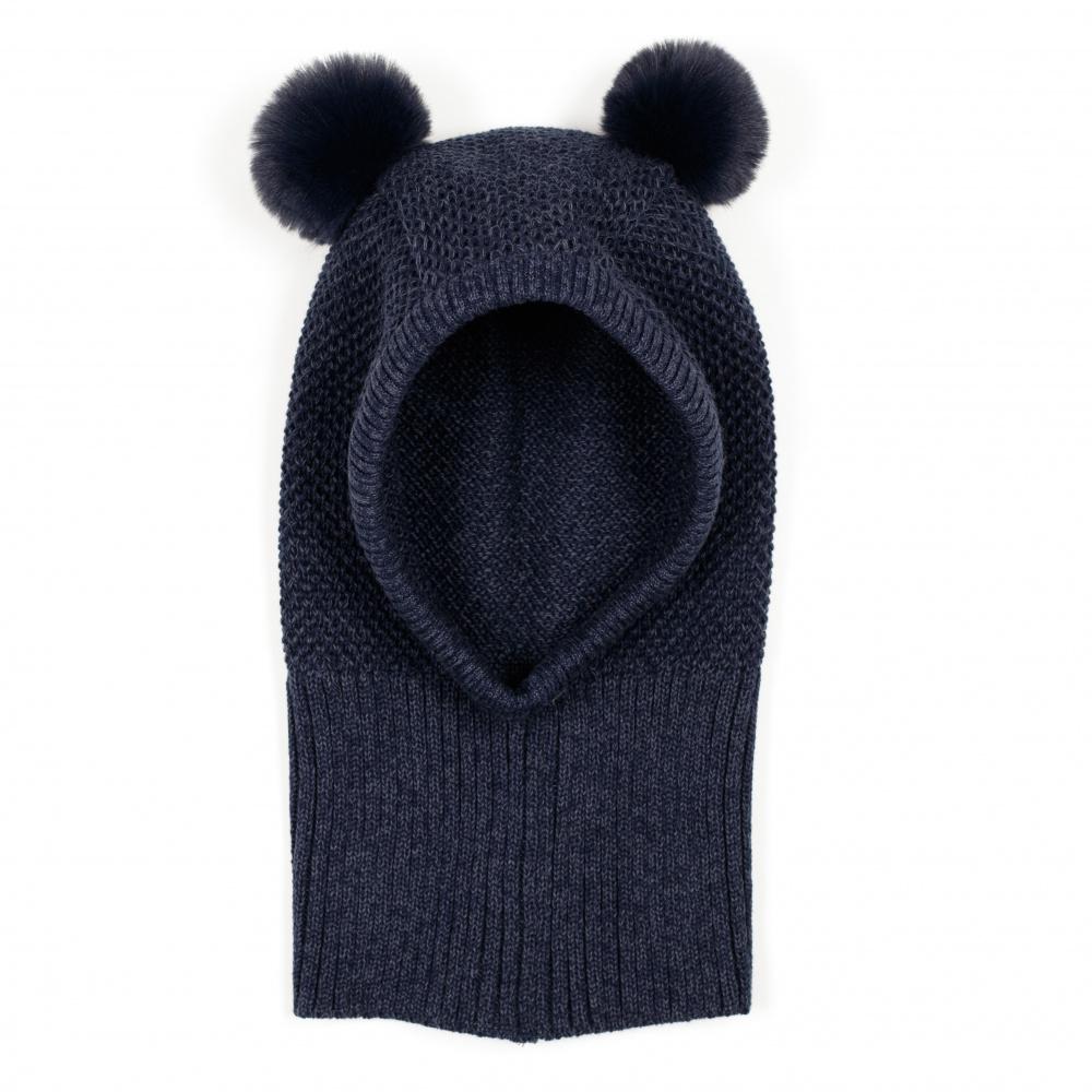 Knotty single layer hat W/fakefur pompom