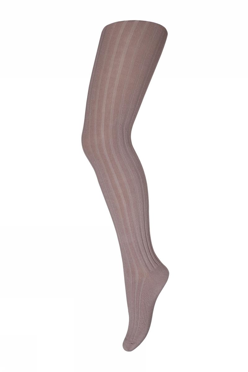 Cotton rib tights - Misty Rose