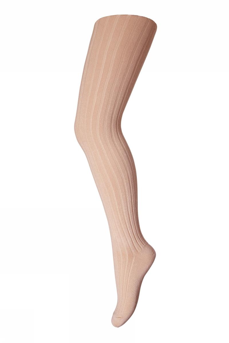 Cotton rib tights - light rose