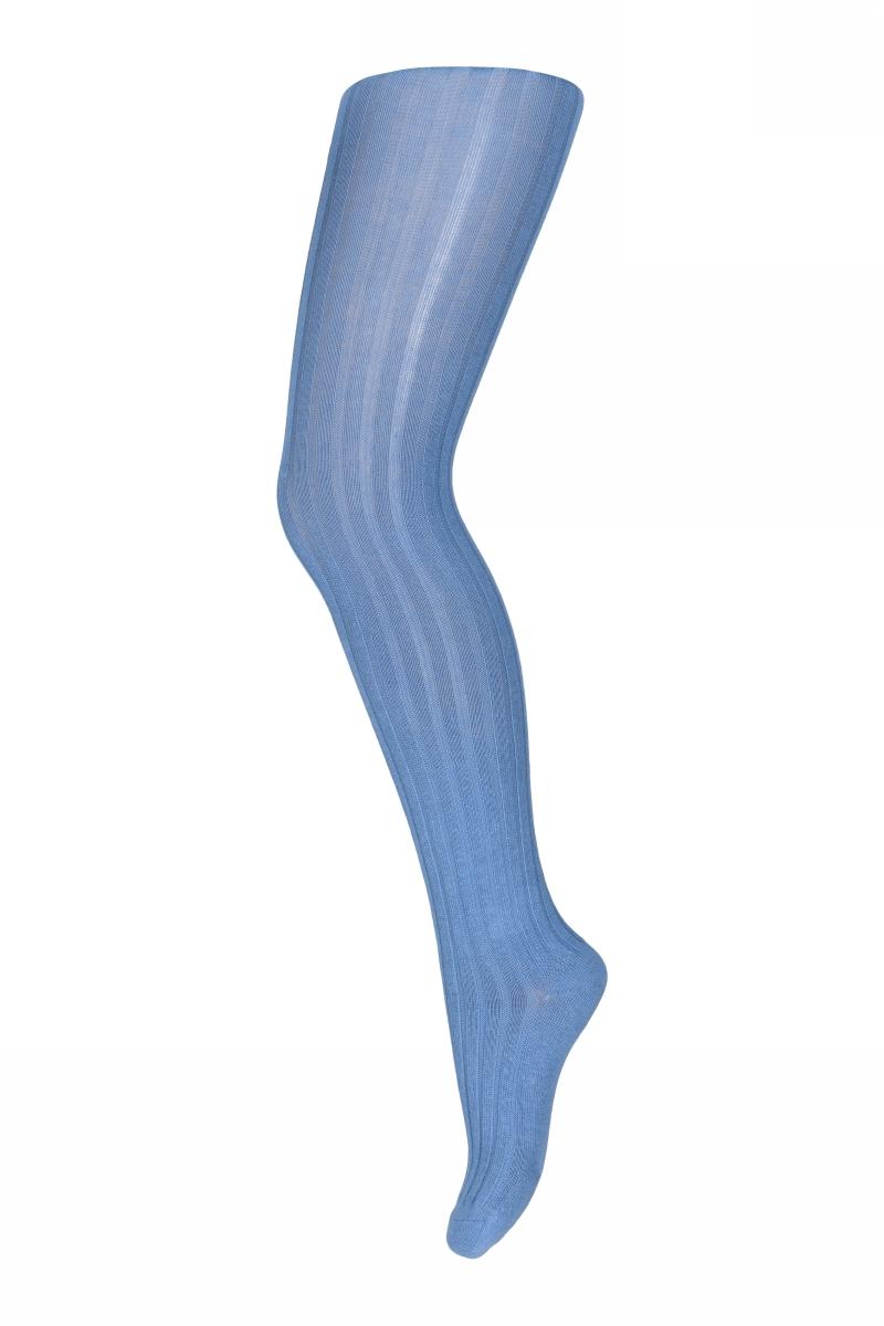 Cotton rib tights - blue