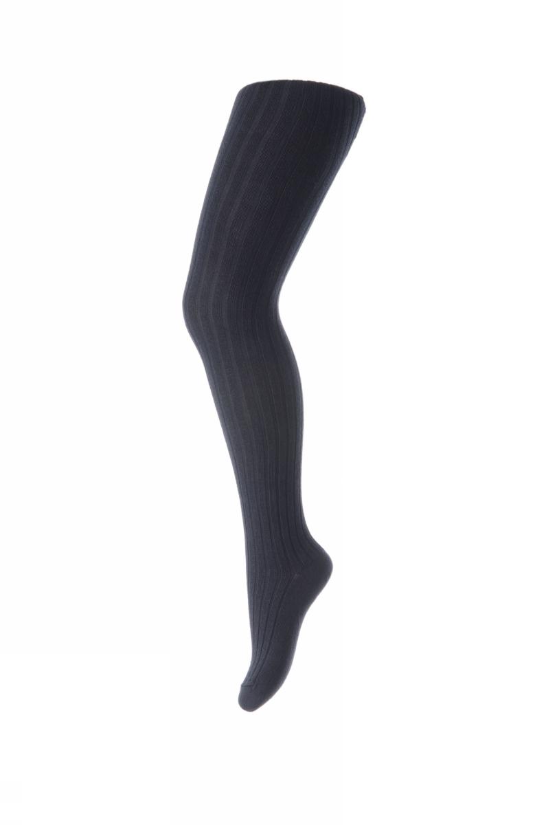 Cotton rib tights - Mørk blå