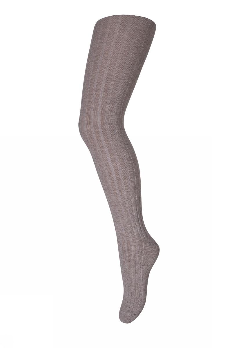 Cotton rib tights - Lys brun Melert