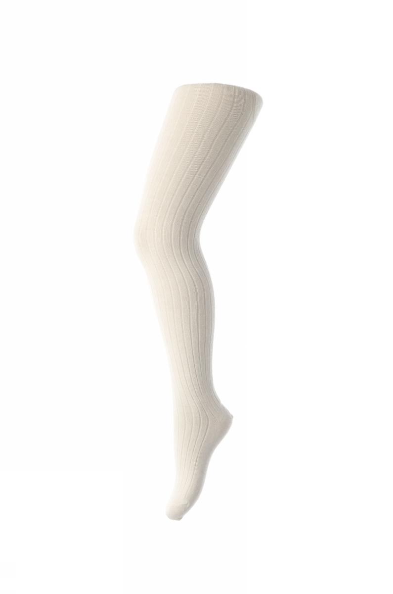 Cotton rib tights - Offwhite