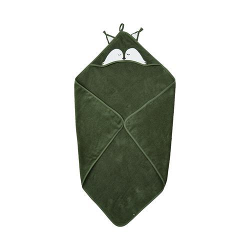 Organic Hooded towel w/fox - Deep Lichen Green