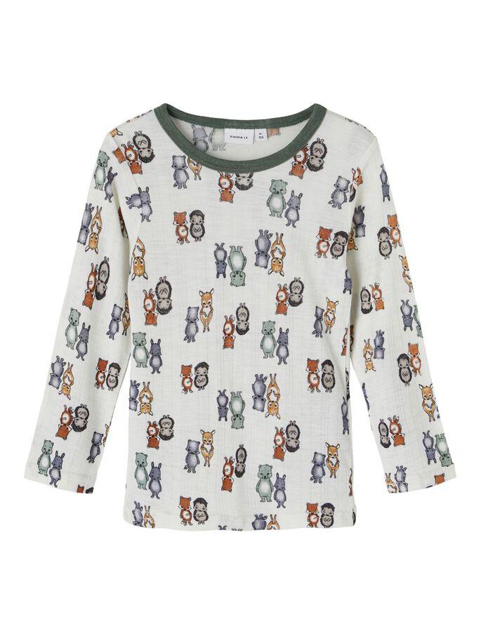 Wang Wool LS Top, Mini - Snow White/AOP