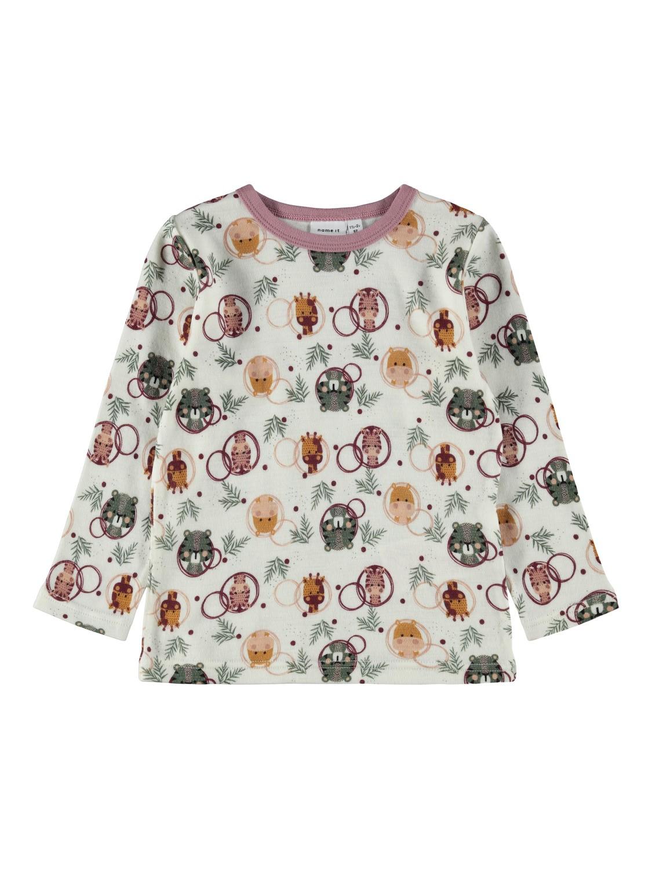 Willit Wool LS Top - Snow White/AOP
