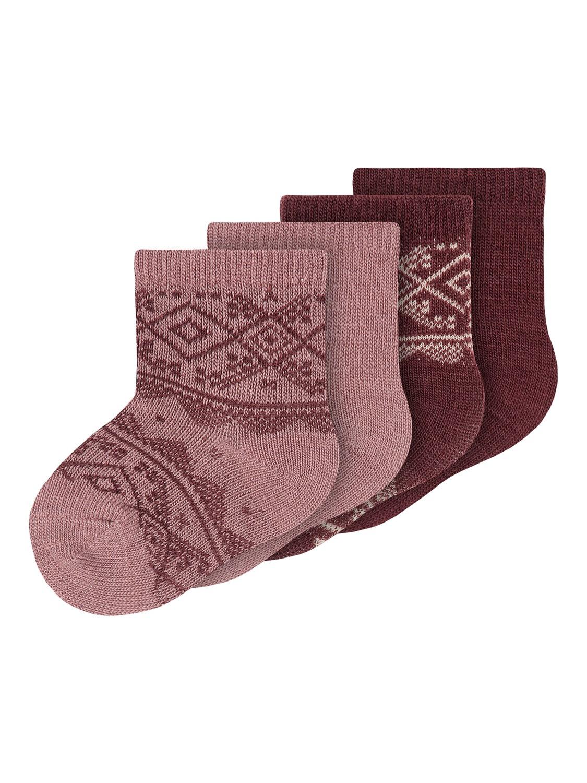 Wak Wool 4pk Sock, Baby - Nostalgia Rose