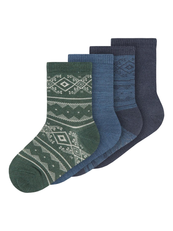 Wak Wool 4pk Sock, Mini - Ombre Blue