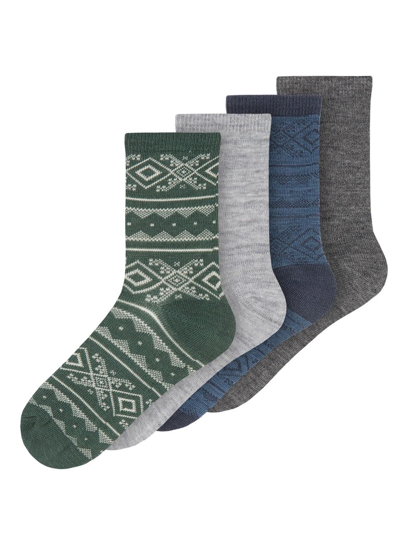 Wak Wool 4pk Sock, Kids - Dk Grey Mel