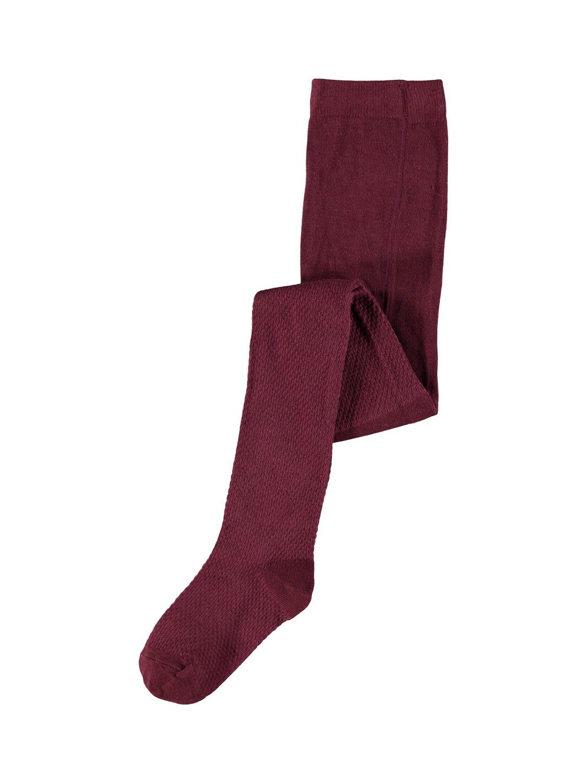 Wakma Wool Cable Pantyhose, Kids - Red Mahogany