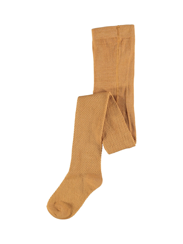 Wakma Wool Cable Pantyhose, Kids - Brown Sugar