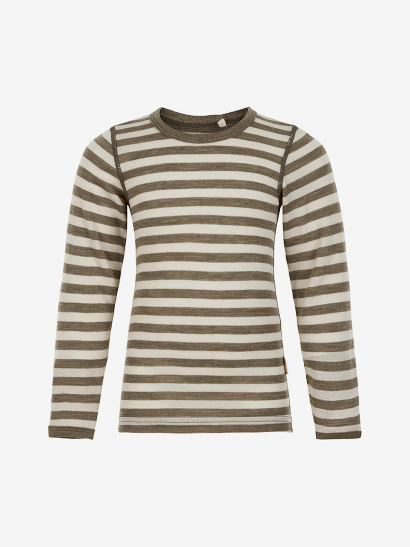 CeLaVi Wool Blouse w/Stripe - Covert Green