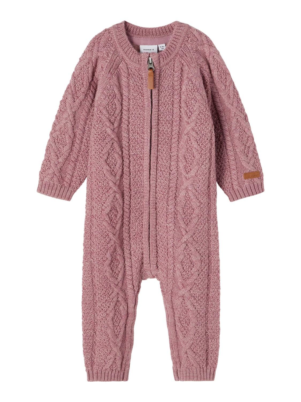 Wrilla Wool LS Knit Suit Baby - Nostalgia Rose