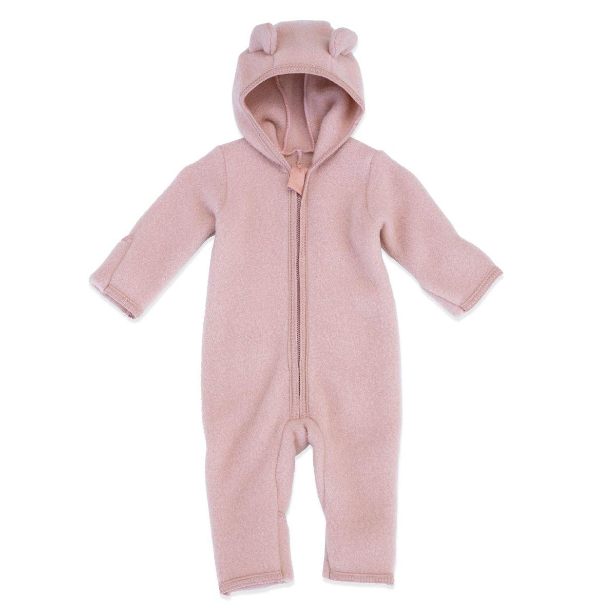 Huttelihut ALLIE Babysuit w/Ears, Wool Fleece - Dusty Rose