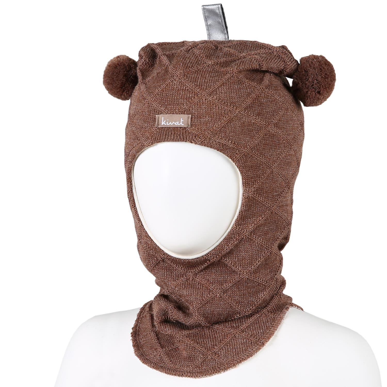 KIVAT Wool Balaclava, Cable w/Bobbles - Brown