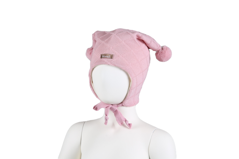 KIVAT Wool Tie Hat, Cable - Pink