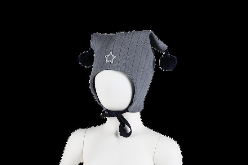 KIVAT Wool Tie Hat, Joker w/Star - Dusty Blue