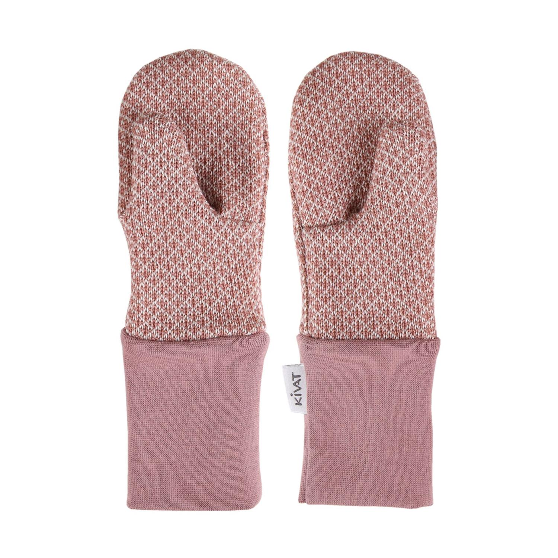 KIVAT Wool Mittens - Woodrose/Beige